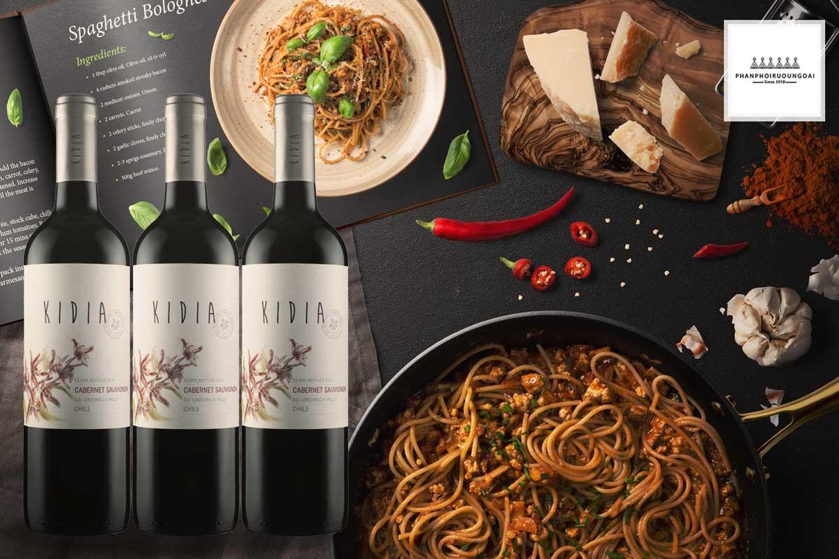 Rượu vang Kidia Cabernet Sauvignon và mỳ ý