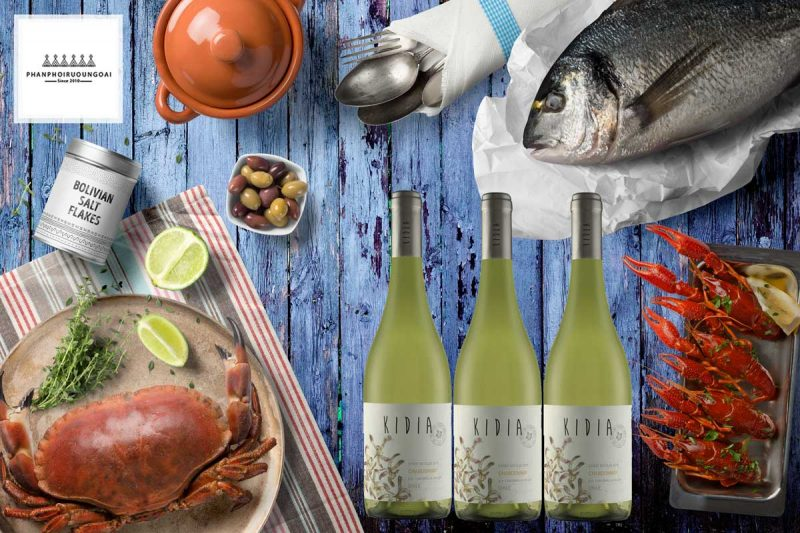 Rượu vang Kidia Chardonnay và các món hải sản