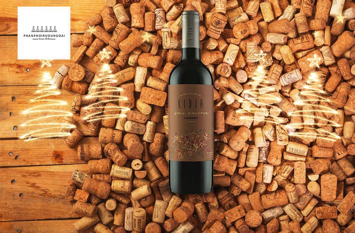 Rượu vang Kidia Gran Reserva Carmenere và nút chai