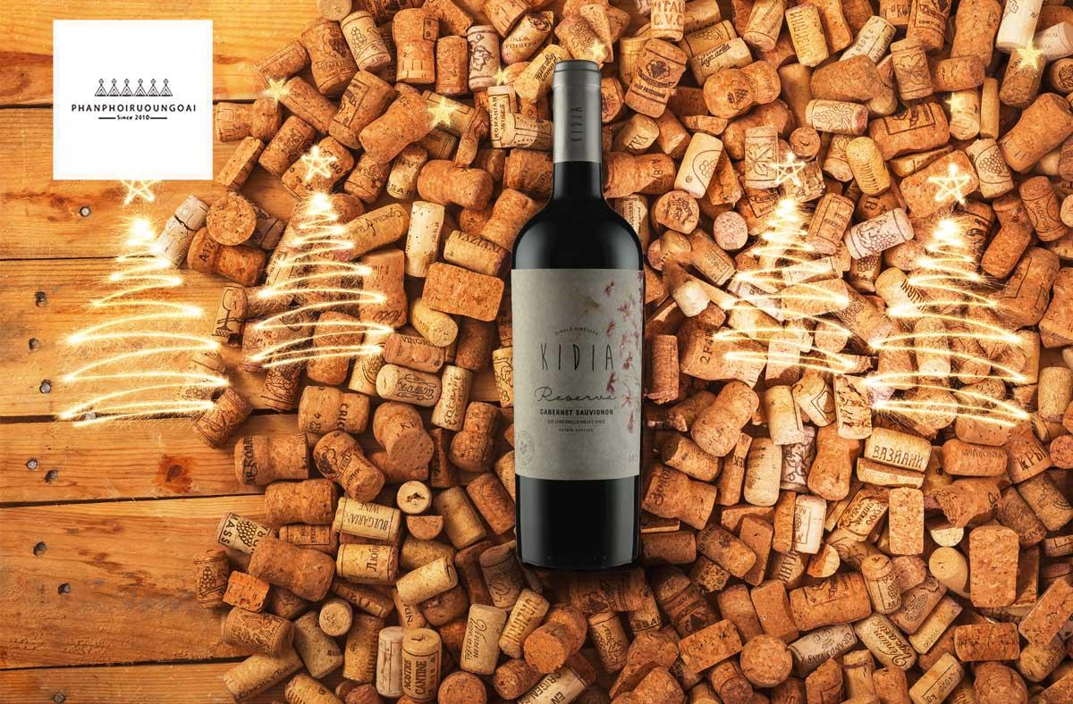 Rượu vang Kidia Reserva Cabernet Sauvignon và nút chai