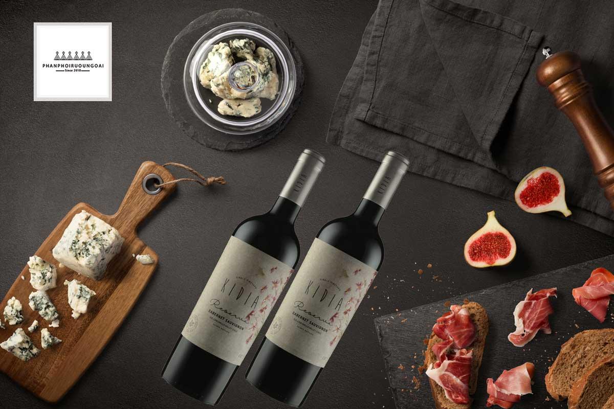 Rượu vang Kidia Reserva Cabernet Sauvignon và thức ăn