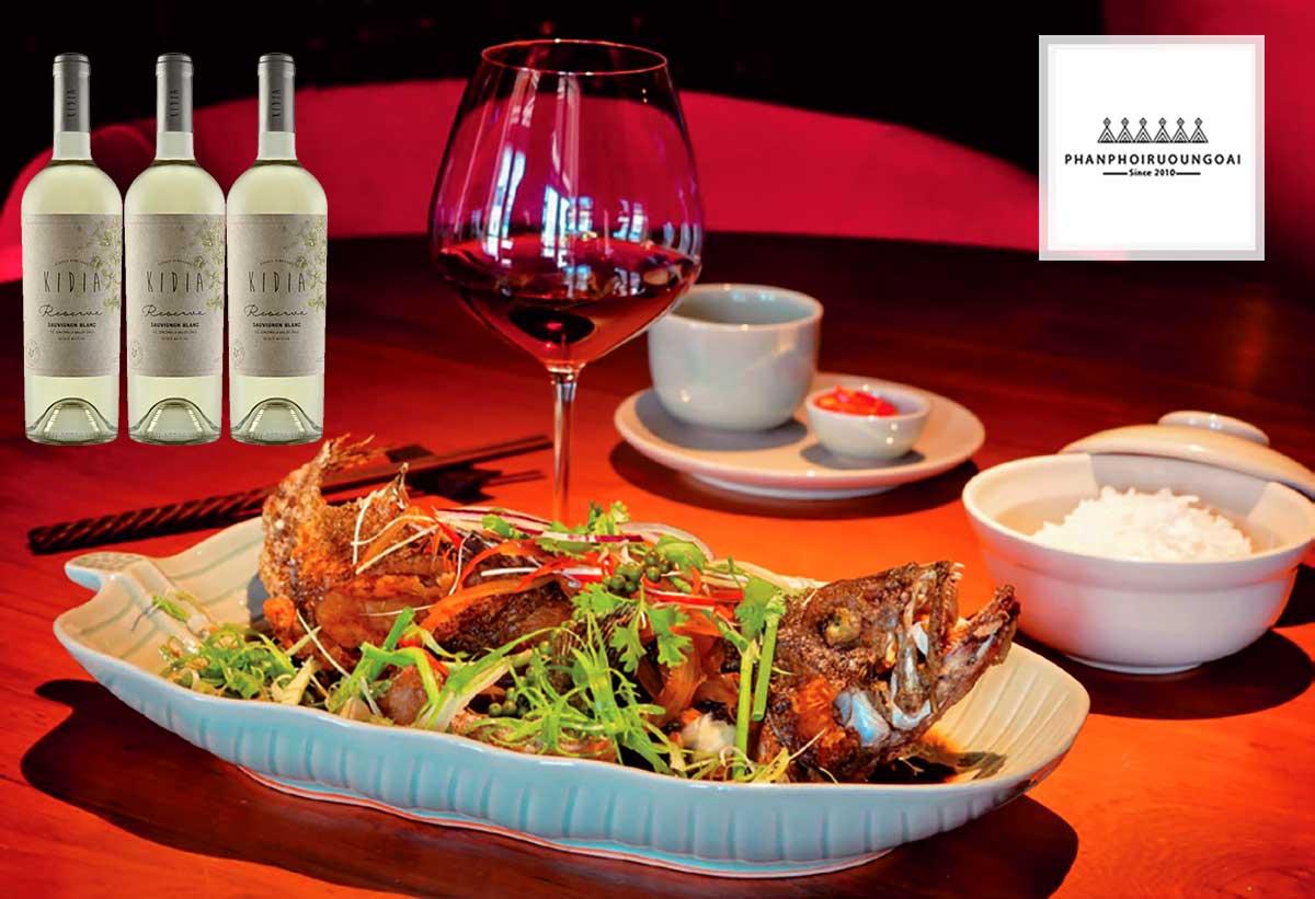 Rượu vang Kidia Reserva Sauvignon Blanc sử dụng với hải sản