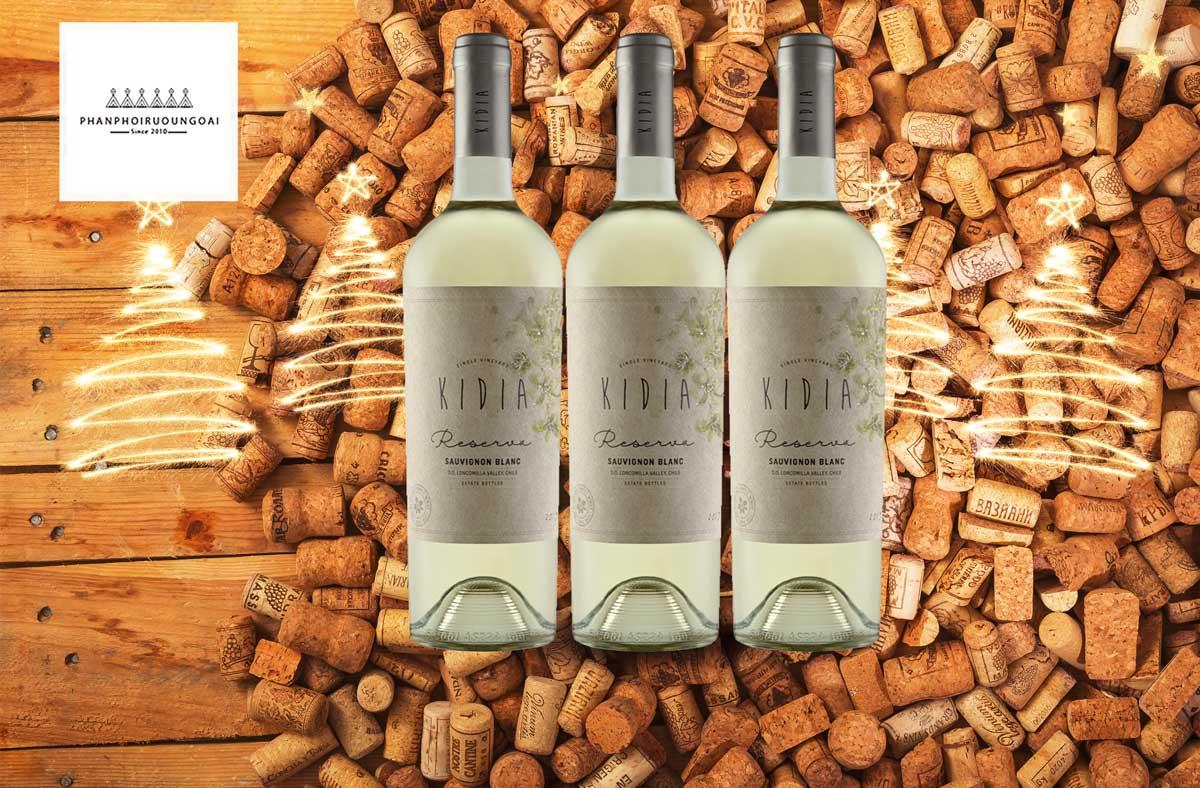 Rượu vang Kidia Reserva Sauvignon Blanc và nút