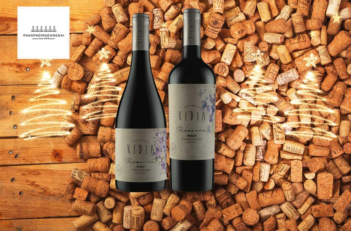Rượu vang Kidia Reserva Syrah và nút chai