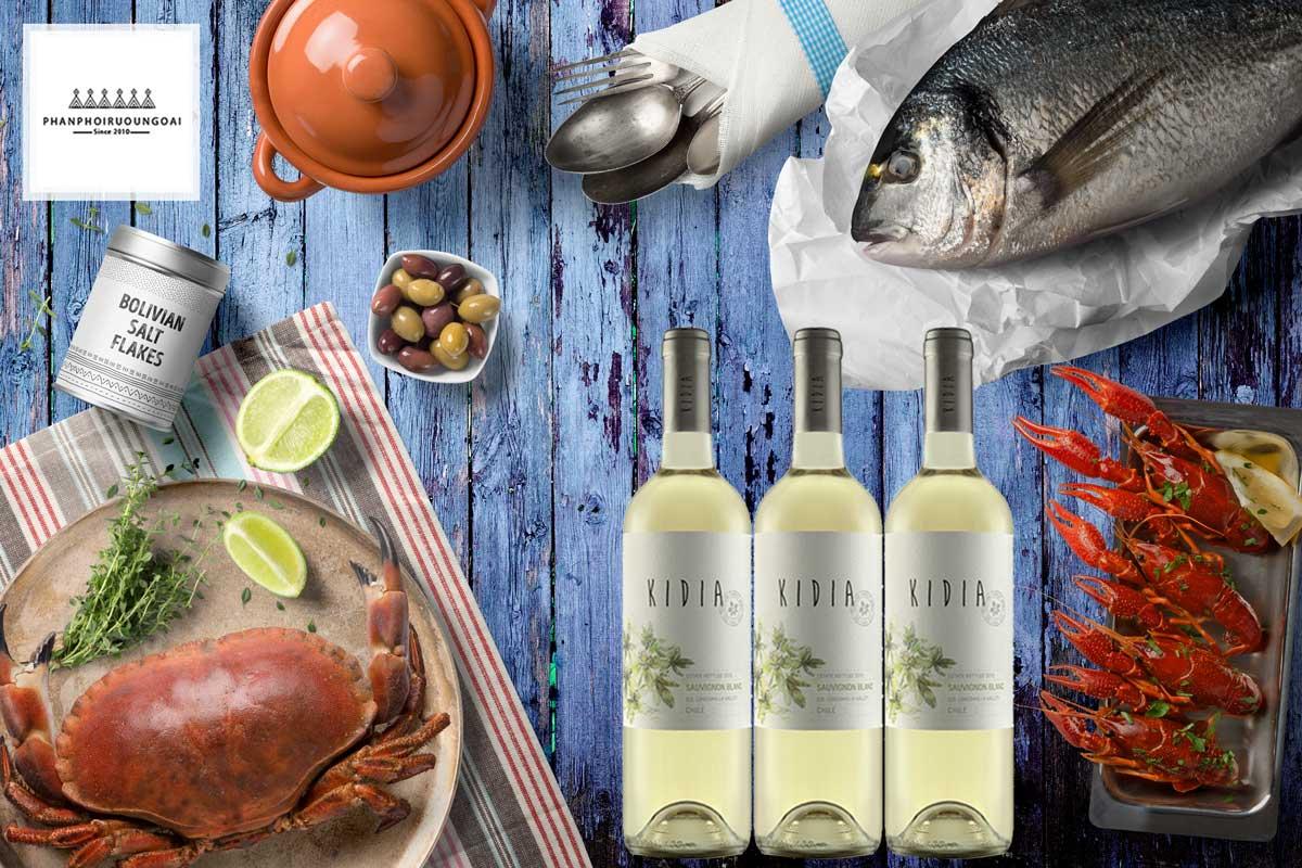 Rượu vang Kidia Sauvignon Blanc và hải sản