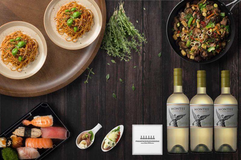 Rượu Vang Montes Classic Series Sauvignon Blanc và đồ ăn