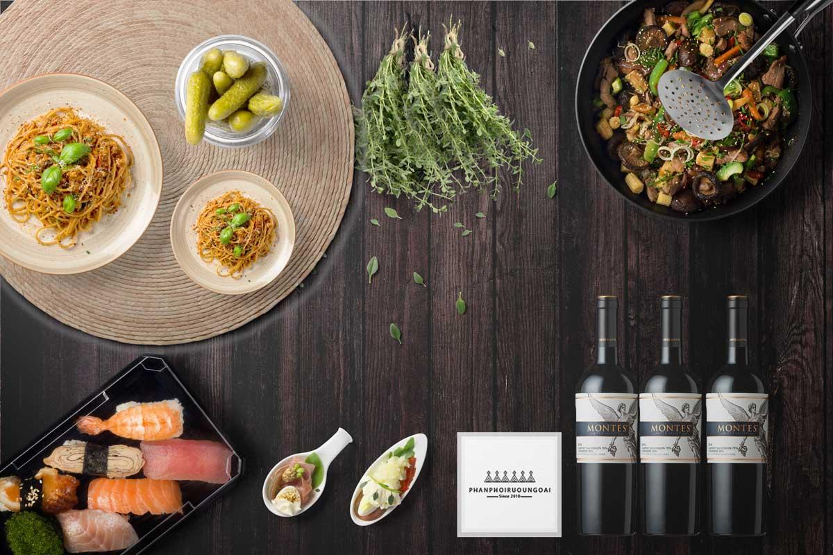 Rượu Vang Montes Limited Selection Cabernet Sauvignon Carmenere và đồ ăn