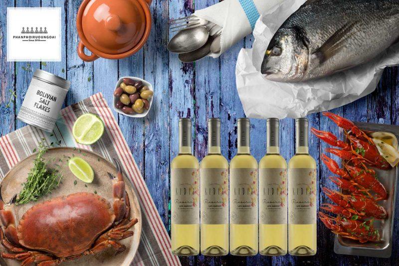 Rượu vang ngọt Kidia Reserva Late Harvest và hải sản