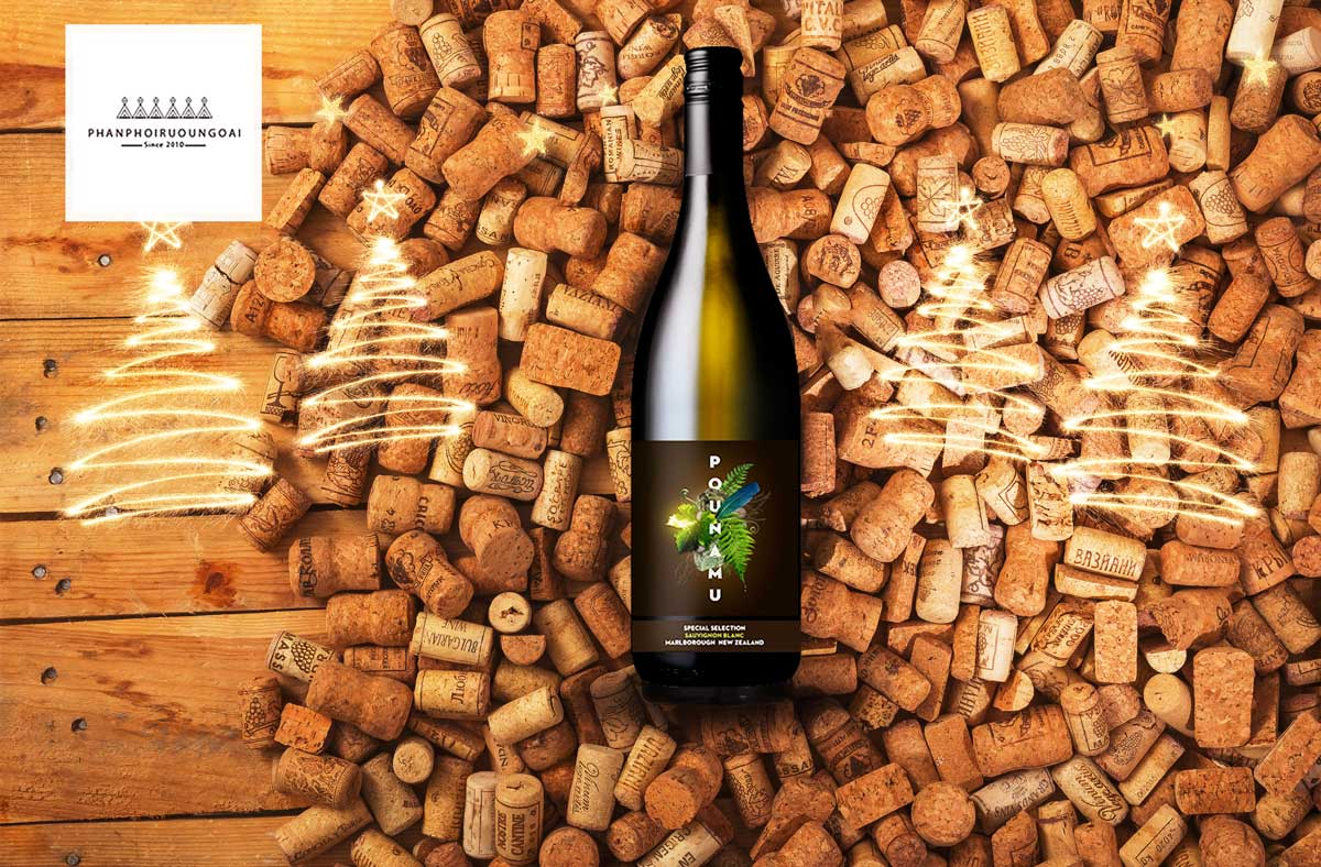 Rượu vang Pounamu Special Selected Sauvignon Blanc và nút chai