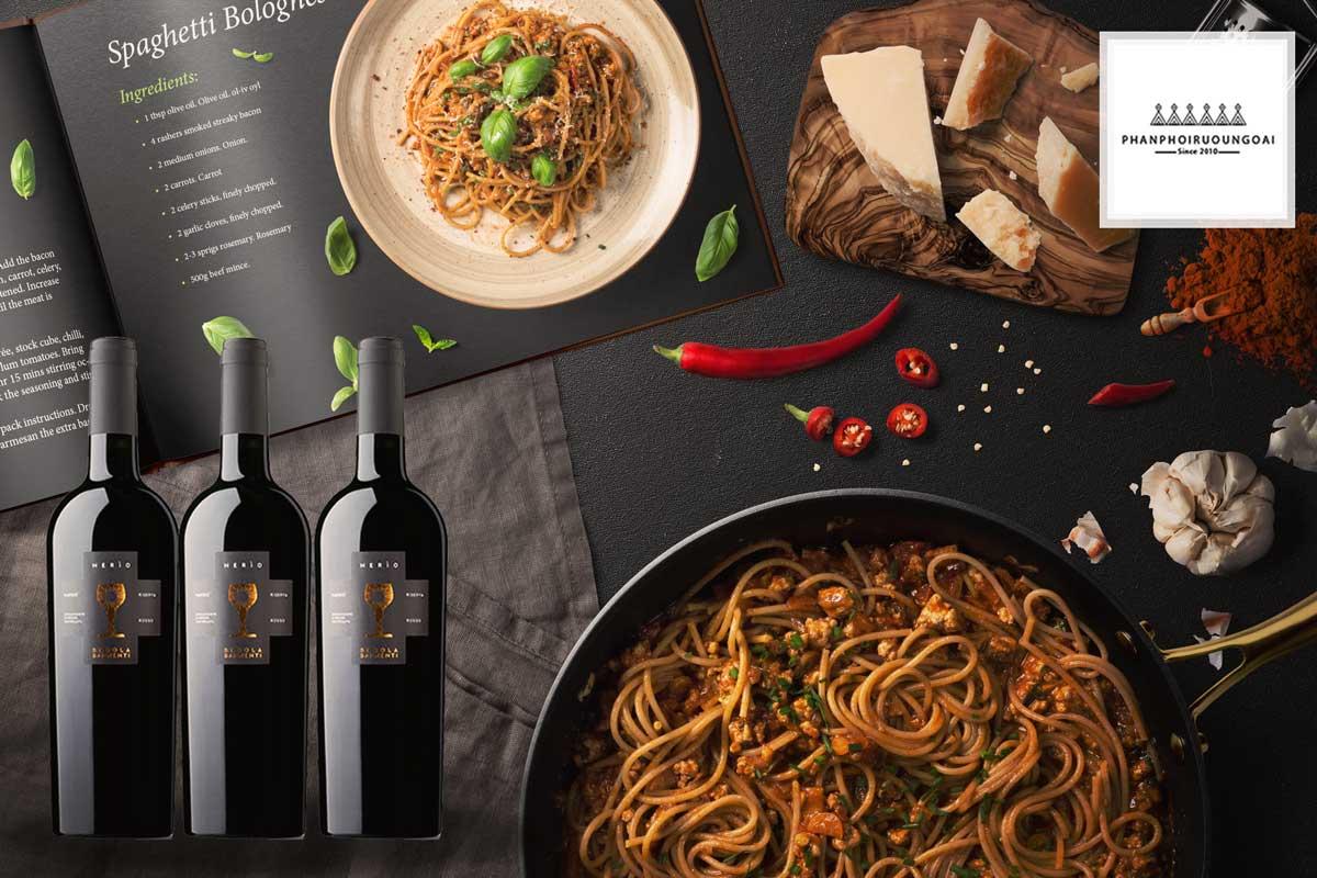 Rượu vang Schola Sarmenti Nerio và món ăn