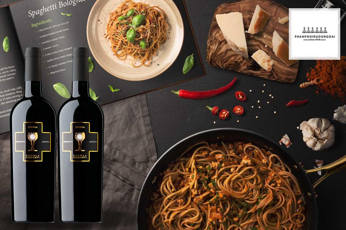 Rượu vang Schola Sarmenti Nauna IGT và Pasta