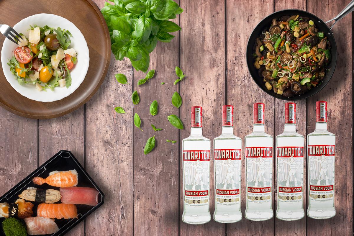 Rượu Vodka Tovaritch và đồ ăn ngon