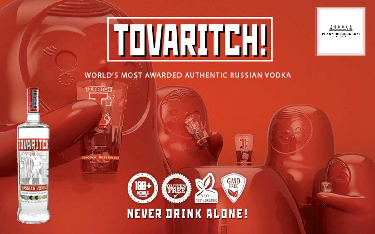 """Khẩu ngữ """"Never Drink Alone"""" của rượu Vodka Tovaritch"""