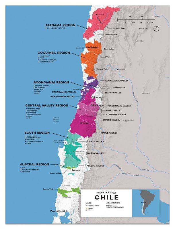 Bản đồ phân bố thổ nhưỡng và các vùng làm vang tại Chile