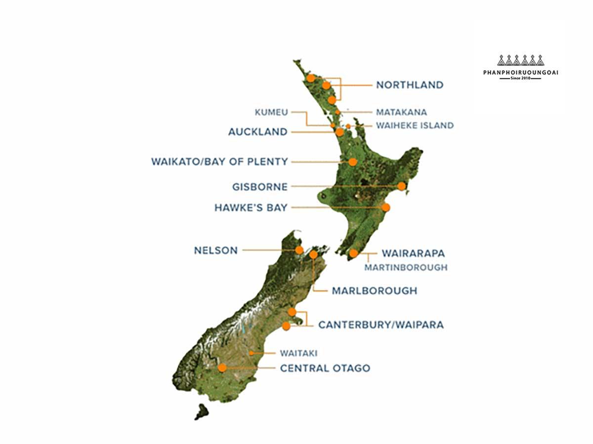 Bản đồ của các vùng làm vang tại New Zealand