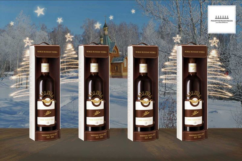 hình ảnh hộp da đơn rượu Vodka Beluga Allure