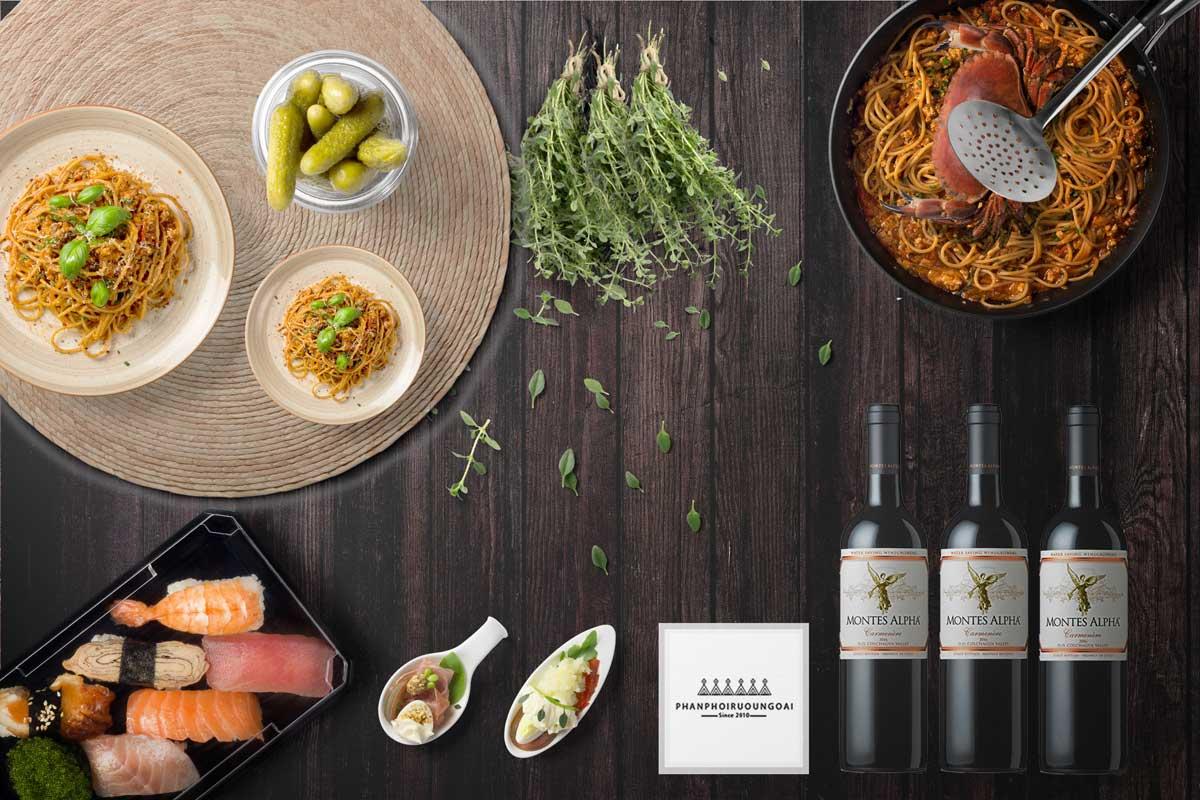 Rượu Vang Montes Alpha Carmenere và đồ ăn ngon