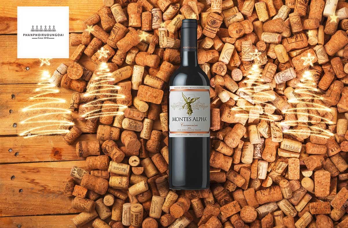 Rượu vang Montes Alpha Carmenere và nút chai