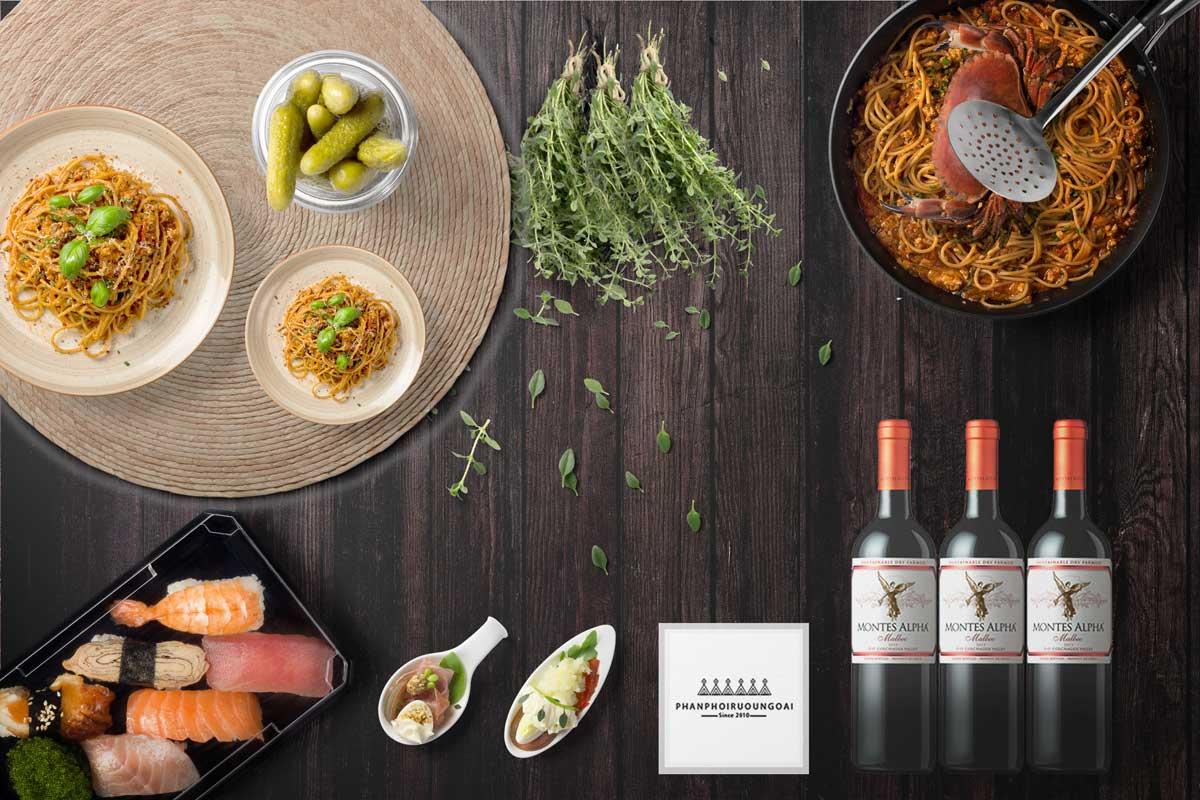 Rượu vang Montes Alpha Malbec và món ăn ngon