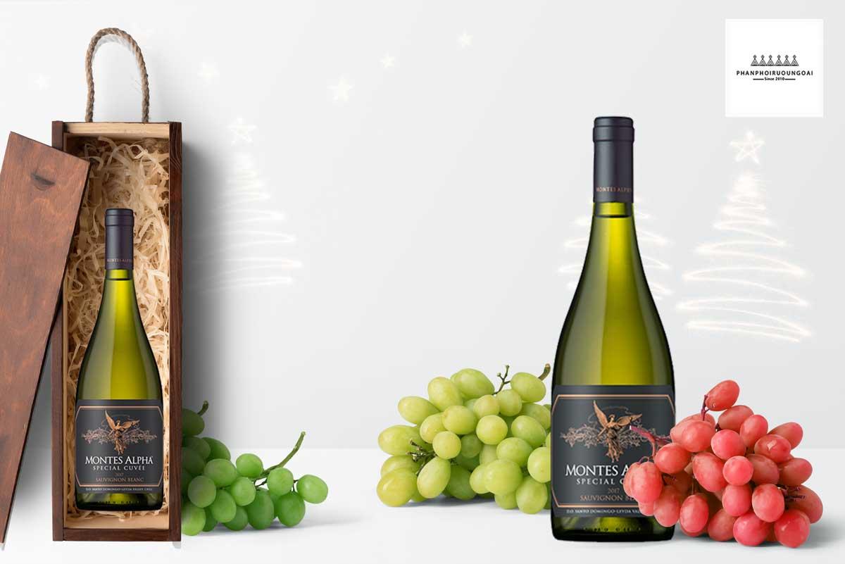 Rượu vang Montes Alpha Special Cuvee Sauvignon Blanc 2017 và hộp quà