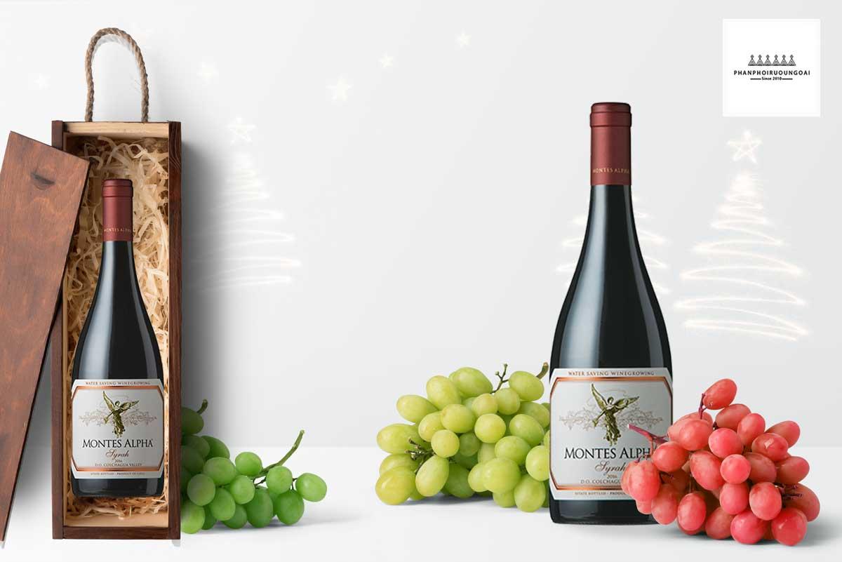 Rượu Vang Montes Alpha Syrah 2016 và hộp quà tặng