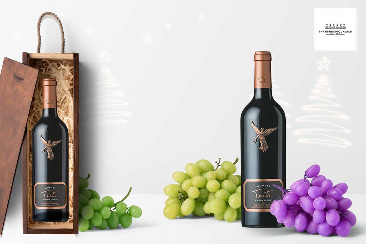 Rượu vang Montes Icons Taita 2011 và hộp gỗ