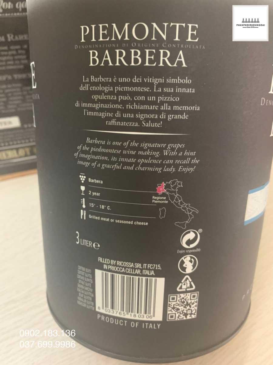 Nhãn sau của Rượu vang Bịch Ý Ricossa 3L