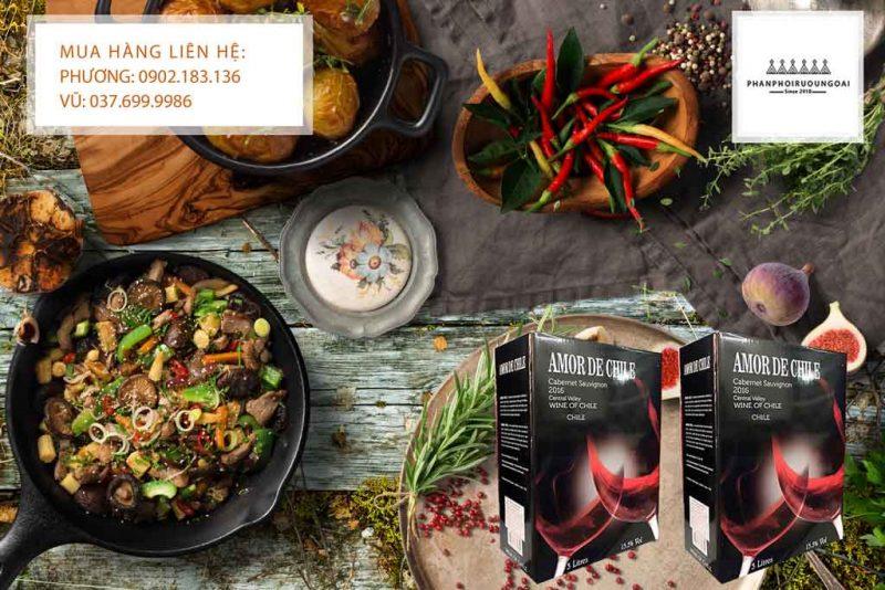 Rượu Vang Bịch Amor de Chile 3 lít và đồ ăn Việt Nam