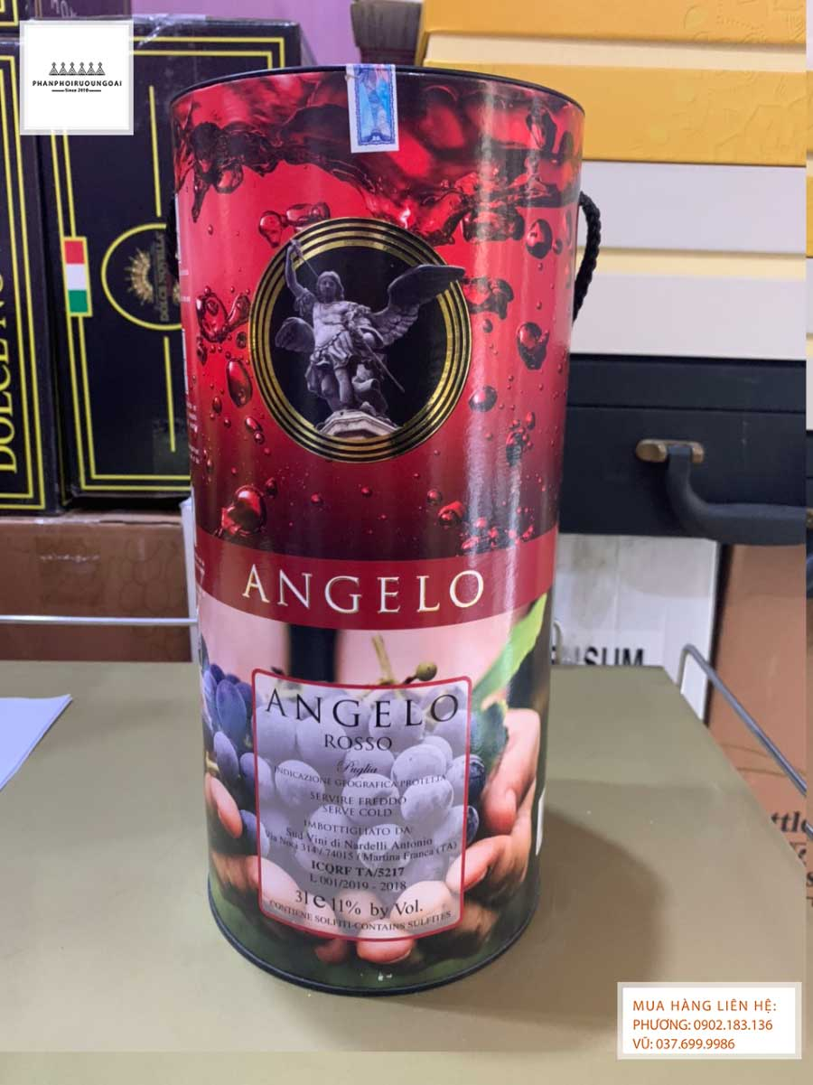 Mặt sau của rượu vang Bịch Ngọt Angelo 3L