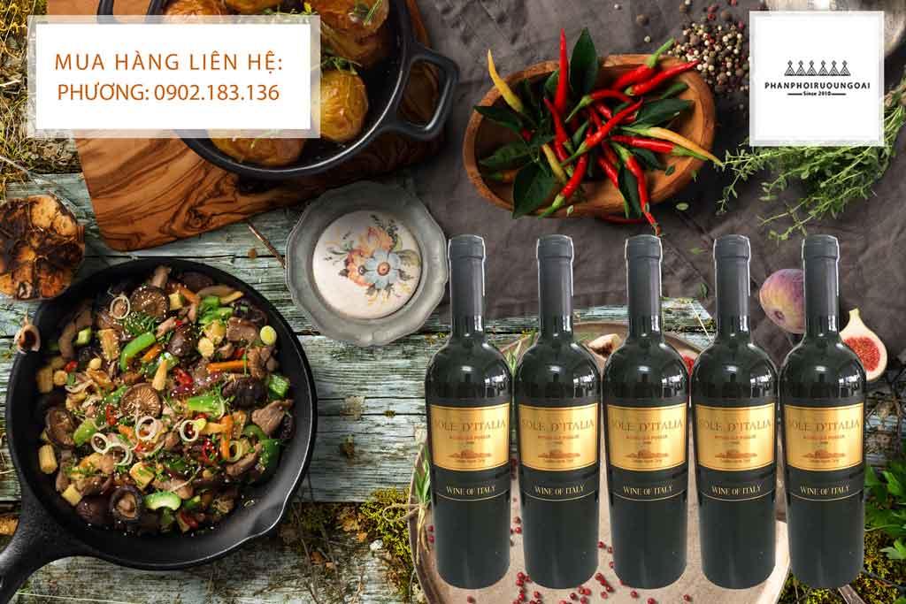 Rượu vang Ý chat Sole D' Italia và món ăn Việt Nam