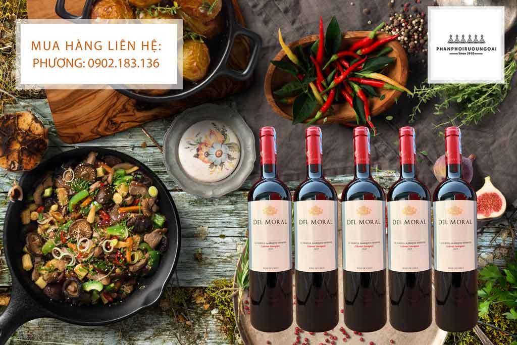 Rượu vang Chile giá rẻ Del Moral và món ăn ngon