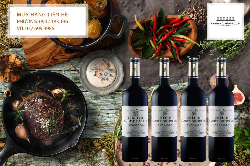 Rượu vang Pháp giá rẻ Chateau Lande de Bertin và thịt bò
