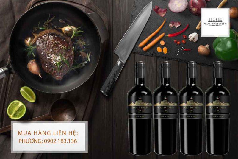 Rượu vang Ý giá rẻ Sole D' Italia và thịt bò