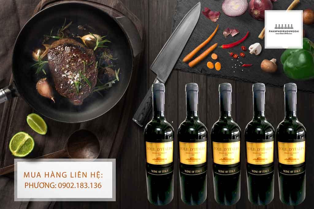 Rượu vang Ý Sole D' Italia và món thịt bò