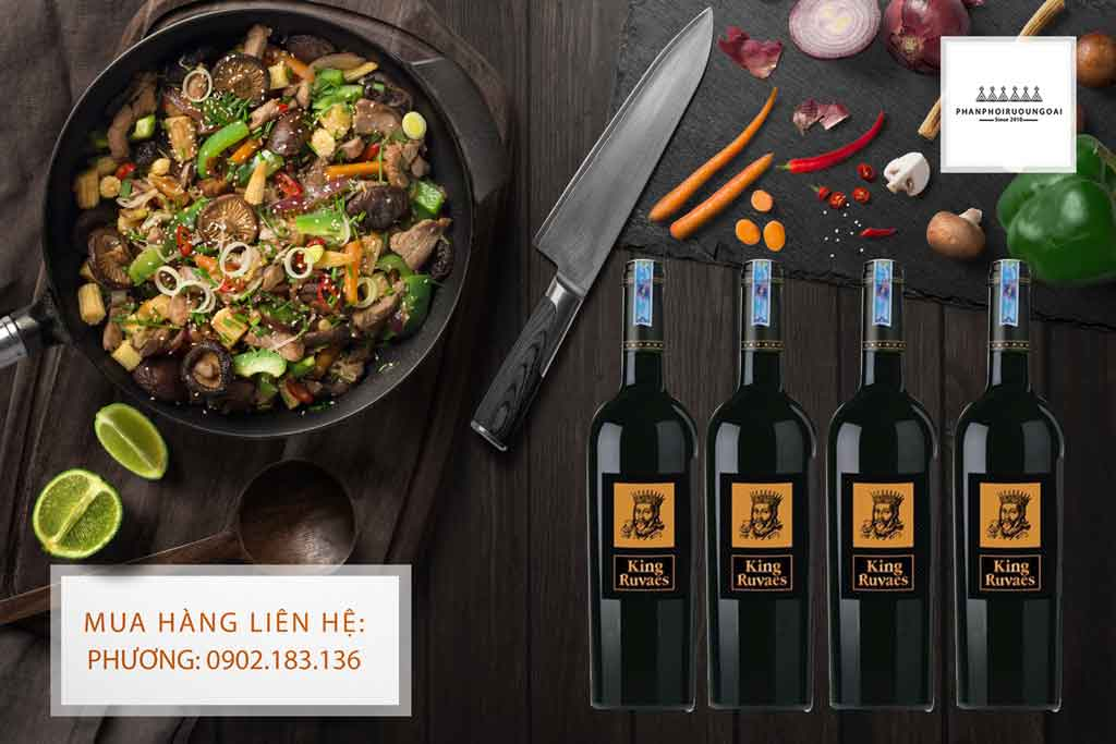 Rượu vang King Ruvaes nhãn vàng và các món ăn Châu Á