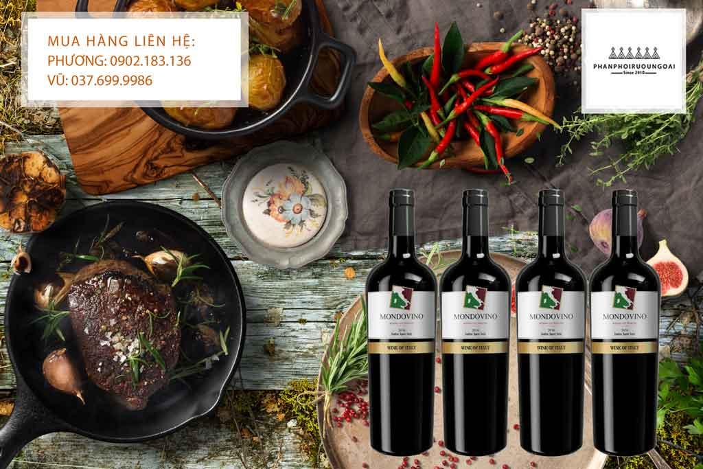Rượu vang Ý Mondovino và món thịt bò bít tết
