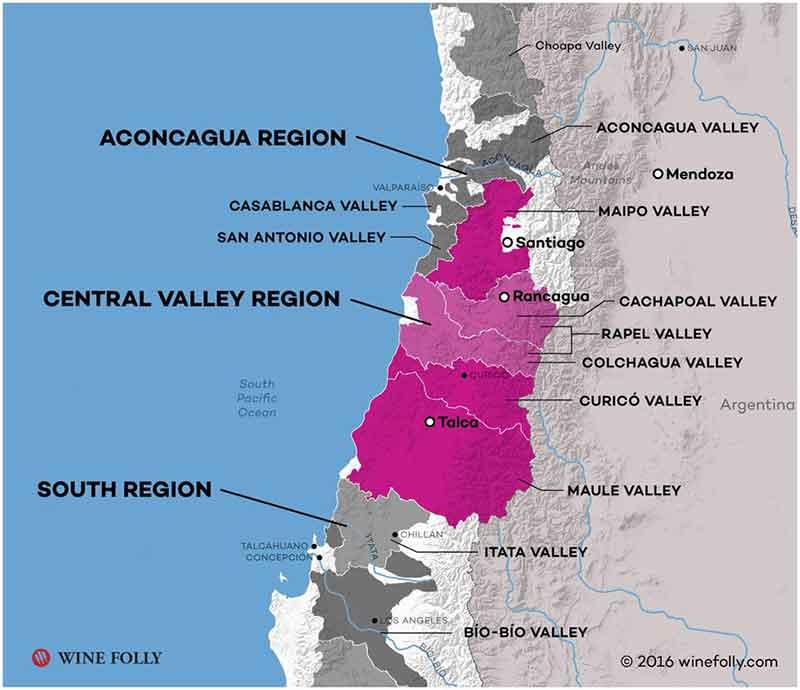 Bản đồ các vùng rượu vang tại Chile