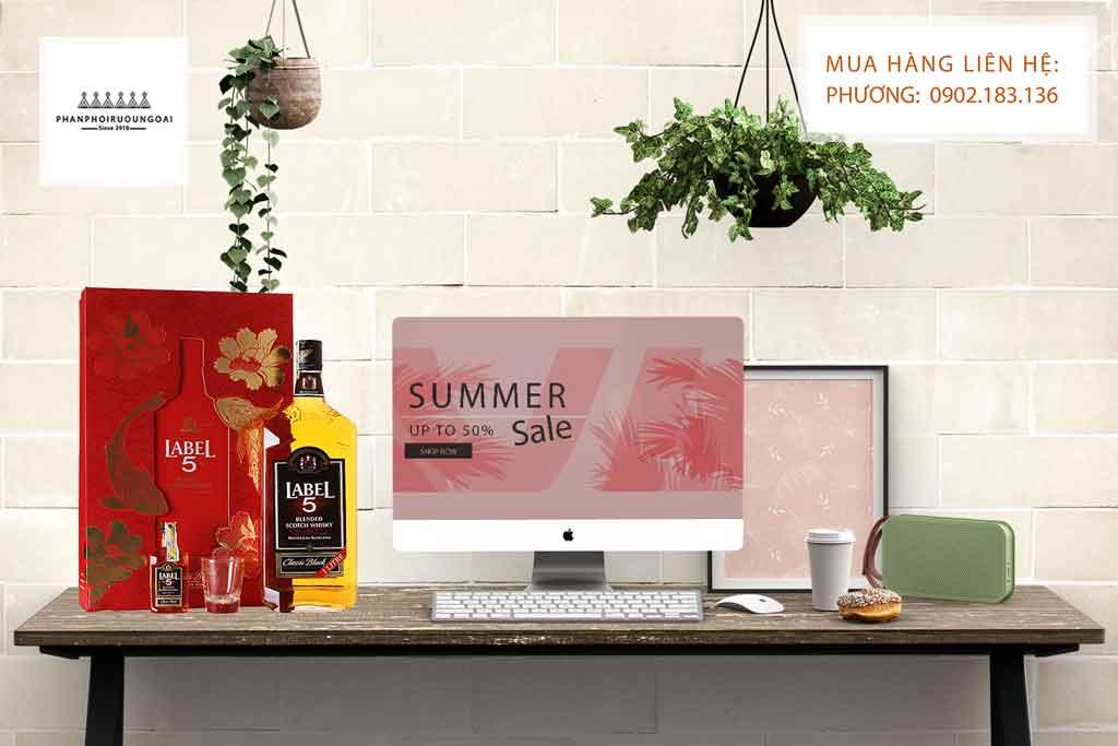 Hộp quà tết rượu Whisky Label 5 Classic 1 Lít phù hợp cho biếu tặng và thưởng thức
