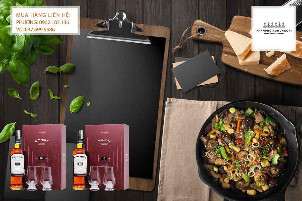 Rượu Bowmore 18 hộp quà tết 2020 và món ăn Việt Nam