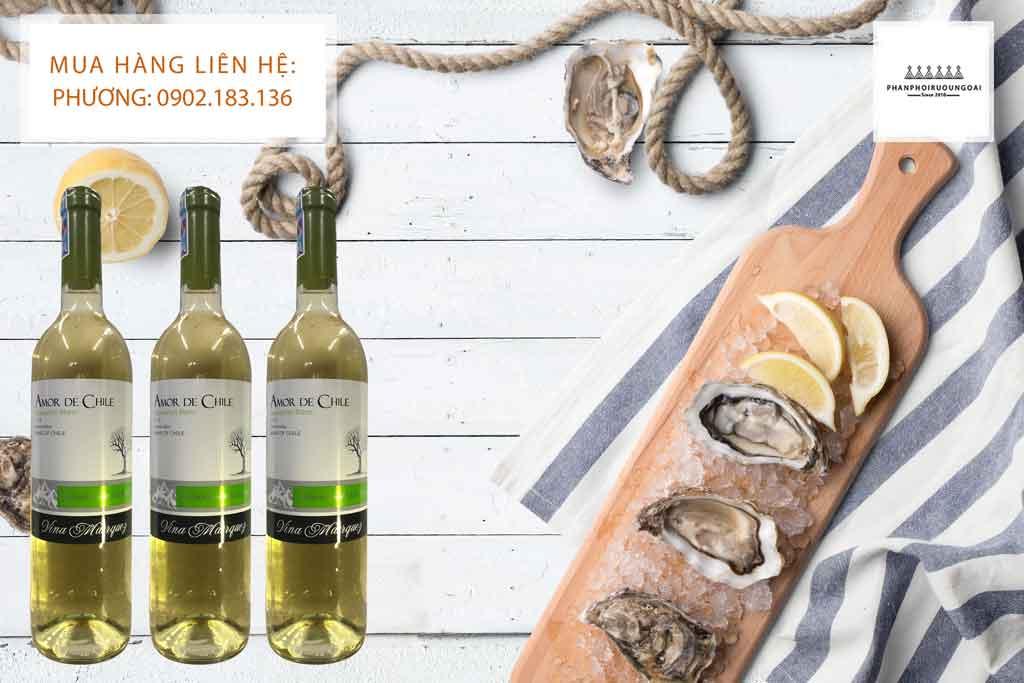 Rượu Vang Amor de Chile Sauvignon Blanc với hải sản 2020