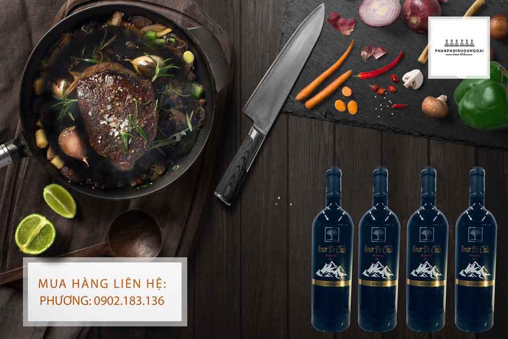 Rượu Vang Amor de Chile thích hợp sử dụng cho các món thịt đỏ