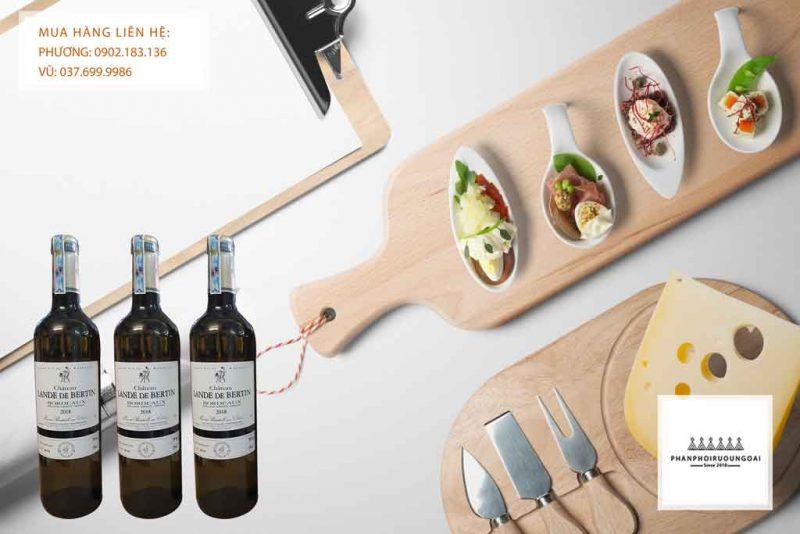 Rượu Vang Pháp Chateau Lande de Bertin trắng cho biếu tặng gia đình, đối tác kinh doanh của doanh nghiệp