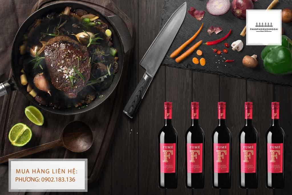 Rượu Vang Tây Ban Nha Fume Cabernet Sauvignon và món ăn