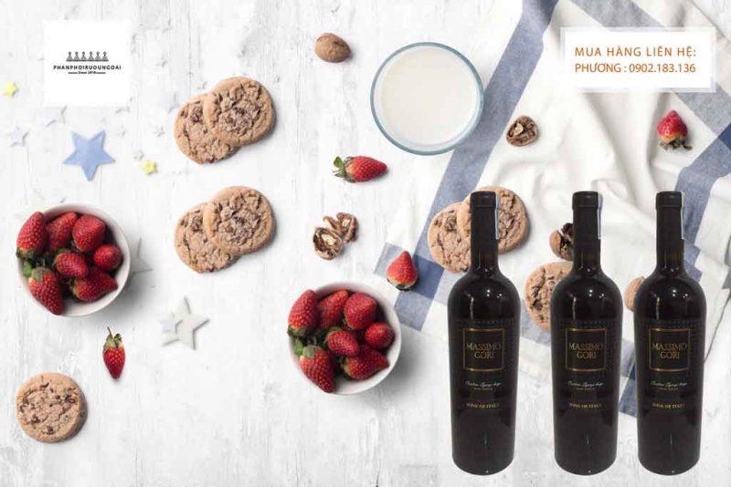 Rượu Vang Ý Ngọt Massimo Gori Semi Dolce và bánh ngọt 2020