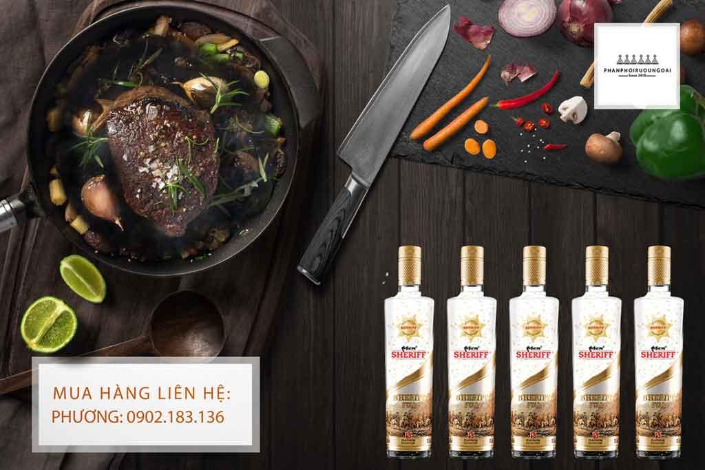Rượu Vodka Men Sheriff Gold 40 độ và món Bít Tết