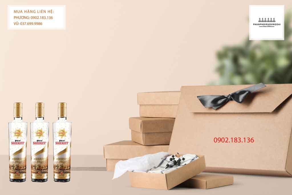 Rượu Vodka Men Sheriff Gold Star vảy vàng 50 độ
