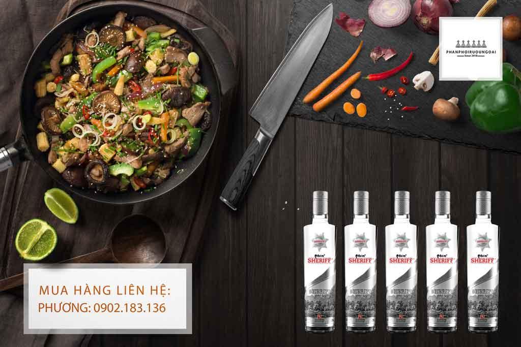 Rượu Vodka Men Sheriff Silver 30 độ và món ăn châu á