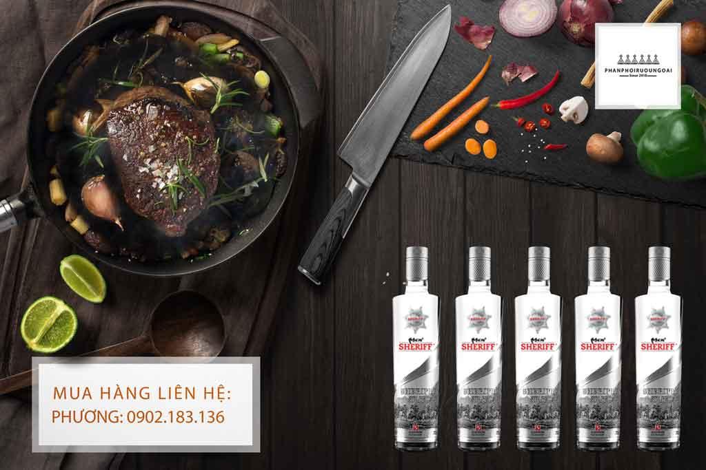 Rượu Vodka Men Sheriff Silver Star 50 độ và món ăn ngon