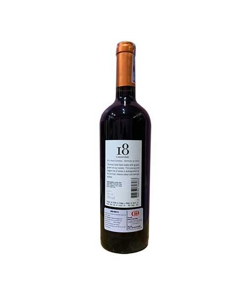 Mặt sau chai Rượu Vang I8 Carmenere