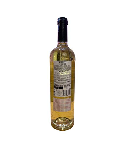 Mặt sau chai Rượu Vang Chile Espiritu de Chile Sauvignon Blanc